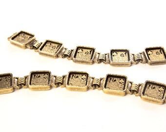 Book Chain Set Bracelets Golden Queen King Pair Of Matching Square 2 True Vintage Jewelry Artedellamoda Talkingfashion Talkingfashionnet