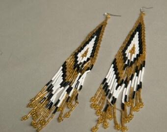 Massive Long Earrings Western Beads Golden White Gray Black Native Unique Handmade Vintage Jewelry artedellamoda parladimoda talkingfashion