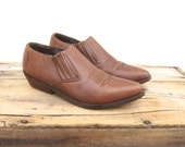 Ankle Chelsea Booties Brown Leather Winklepickers 1990s Ladies Size 7-7.5
