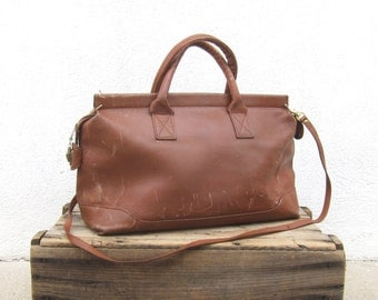 Japanese Cognac Leather Medium Tote Shoulder Bag