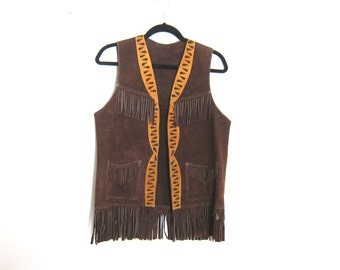 Vest Fringed Suede Brown and Tan Ladies Size M, Mens S