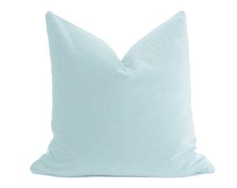 Duck Egg Blue Velvet Pillow Cover - Belgium Velvet - Light Blue Pillow - Light Blue Velvet Pillow - Sky Blue - Ice Blue Pillow - Decorative