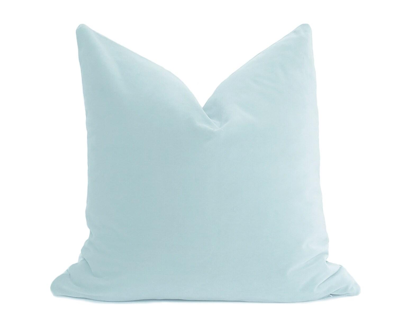 Duck egg blue velvet pillow cover belgium velvet light for Light blue throw pillows