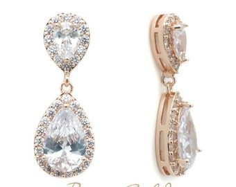 Double tear drop cubic zirconia earrings - Rose Gold