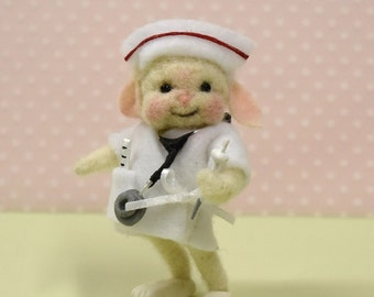 "Needle Felted Bunny ""Nurse""!  Free Shipping In The U.S.A. Too!"