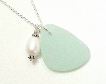 Pale Aqua Sea Glass Necklace With Wire Wrapped Pearl Jewelry, Beach Jewelry,  Aqua Seaglass Necklace, Beach Glass Necklace, Beach Wedding