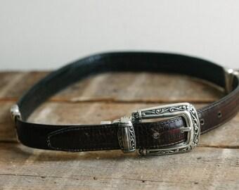 25-28 black & brown  reversible  western leather belt
