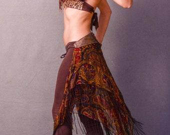 SALE,Gypsy Festival Bustle Belt Skirt, One Of A Kind Swim Cover Up, Tribal Jewel Tone Bustle,Belly Dance, Boho, Scarf Belt,Woodland Faery,