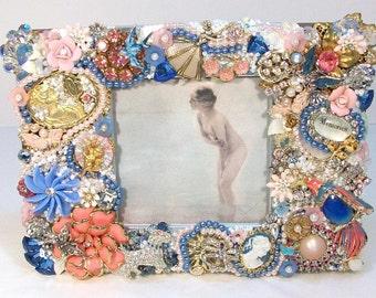 Pink & Blue Rhinestone Vintage Jewelry FRAME PHOTO HOLDER Collage Piece