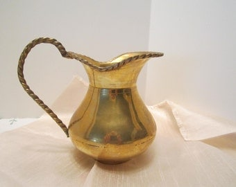 Solid Brass Pitcher/Vase - Rope Styled Handle and Rim - Wide Mouth Opening - Made in India - Heavy Brass Original Patina As Found