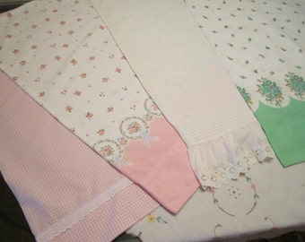 Vintage Fabric Pillow Cases - Standard Size - Green Pink White - Florals - Gingham - CHOICE
