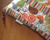Orange Tweet Birds Urban Zoo Strips Printed Free Motion Quilting Pouch Bag Cosmetic Travel Storage