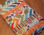 Orange Tweet Birds Urban Zoo Free Motion Quilting Fabric Pouch Bag Cosmetic Travel Storage