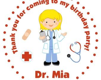 Doctor Birthday Party Sticker Medical Birthday Sticker