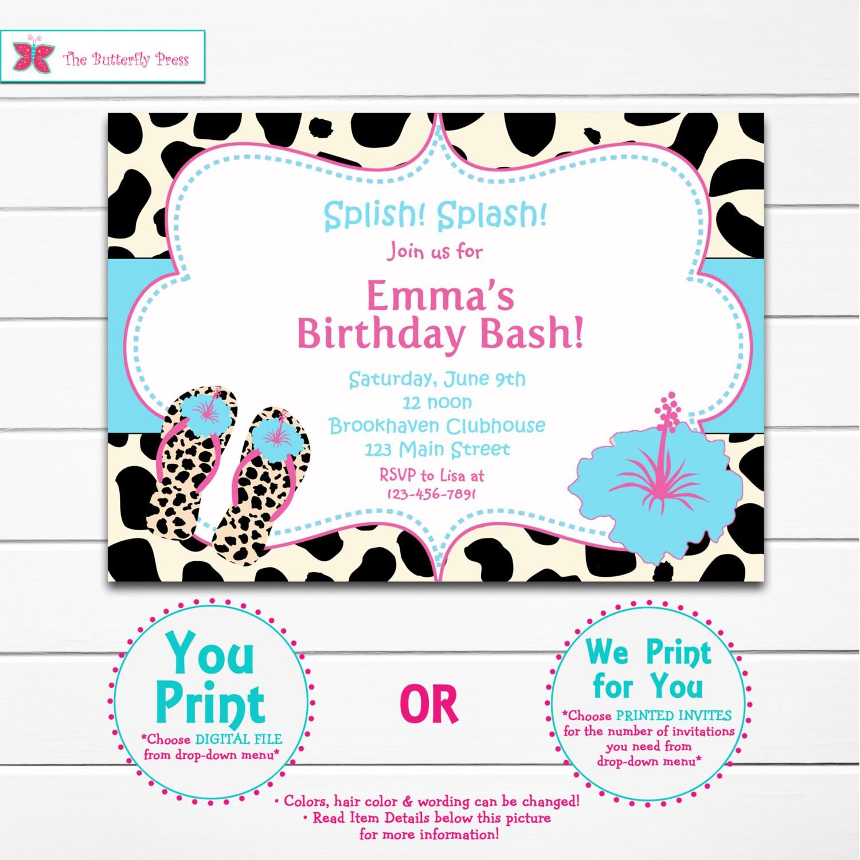 Flip Flips Pool Party Birthday Invitation Pool Party Flip