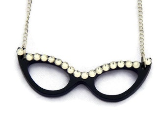 Black Cat Eye Glasses Necklace, Retro Eye glasses charm black with rhinestones Retro, Rockabilly