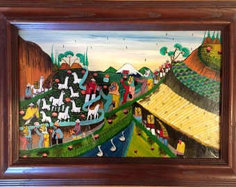 Guatemalan Painting, Painted on some kind of animal skin.