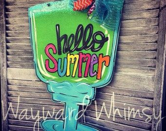 "Margarita with glitter ""salted"" rim Wood Cut Out Door Hanger"