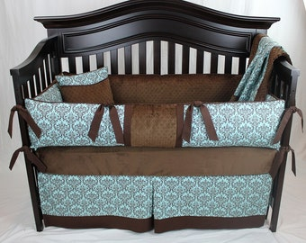 CLEARANCE! Turquoise and Brown Damask Baby Bedding Set With Diaper Stacker