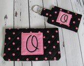 Ready to Ship //  Black and Pink Dot Quilted Checkbook Cover and Pocket Key Fob Set - Initial O