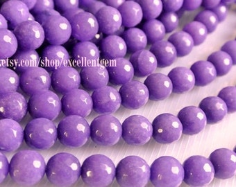 38 pcs Faceted Round beads, Full strand purple color jade, 10mm Round beads, Purple color beads.