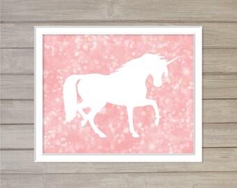 Unicorn Wall Art Printable -Pink Bokeh 8x10- Instant Download Digital Baby Girls Kids Nursery Room Decor Wall Art Magic Fairy Tale