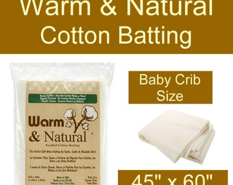 """Sale - WARM and NATURAL COTTON Batting - Baby Crib Size - 45"""" x 60"""""""