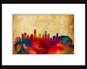 Los Angeles Skyline Typography Print Poster Map Abstract Grunge