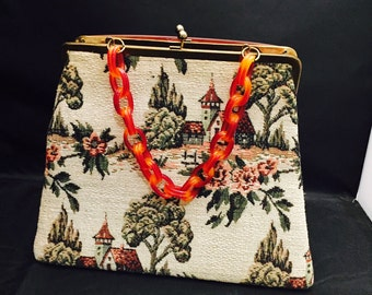 Tapestry Purse, Lucite Chain Handle, Country Motif, Ladies Handbag, Brass Frame, Fashion Accessory