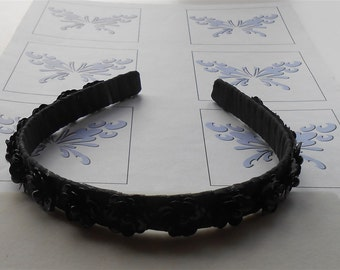 Black Headband Sequin Flowers Party Headbands Headpieces Weddings Prom Special Occasion Hand Made Hair Accessories