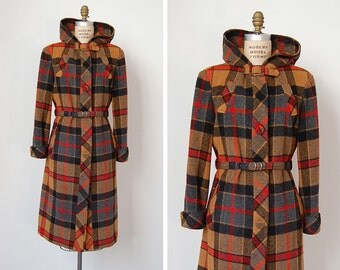 vintage 1960s coat / 60s plaid coat / plaid wool coat / Mount Hood coat