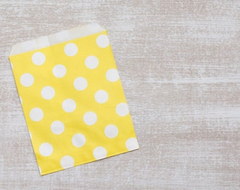 10 paper bags yellow large polka dots