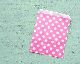 10 paper bags hot pink polka dots