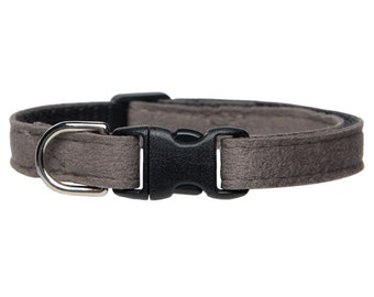 "Cat Collar - ""The Luxe"" - Gray Ultrasuede"