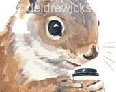 Watercolor PRINT Squirrel - Squirrels Love Coffee, Animal Watercolour, Squirrel Illustration, 5x7 Print