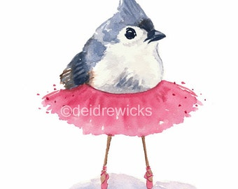 Ballet Bird Watercolor Print - Tufted Titmouse, Ballet Art, 5x7 Illustration
