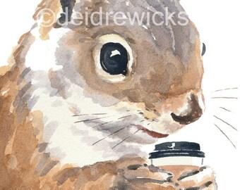 Watercolor PRINT Squirrel - Squirrels Love Coffee, Animal Watercolour, Squirrel Illustration, 5x7 Print