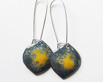 Gray and yellow enamel earrings Enameled copper leaf dangle earrings Unique bohemian jewelry Silver kidney wires Long yellow drops