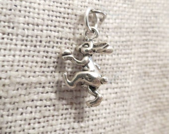 Easter Bunny Rabbit with Basket of Eggs Sterling Charm Pendant