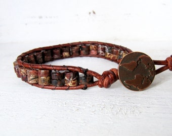 Earth Tone Red Jasper Leather Wrap Bracelet, Brown, Red, Black, and Tan Wrap Bracelet, Copper World Map Globe Button Bracelet