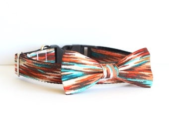 New Color! 2 colors to choose from, Dog collar cat collar Bow tie, made in san francisco, South West or Brown Dot, dog collar