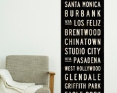 LOS ANGELES Subway Art. Transit Sign. Retro California Poster. Bus Scroll. LA Tram Roll Canvas Print. Hollywood Sign. 20.5 x 60