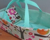 Doll Carrier, Will Fit Bitty Baby and Stella Dolls, Colorful Owl, Aqua Lining