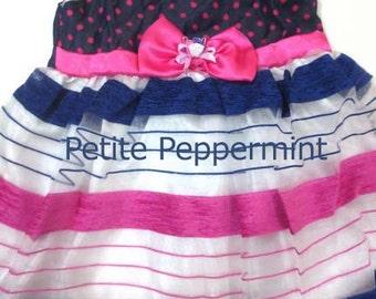 Baby dress,newborn dress,baby girl clothing,hot pink and blue baby girl dress, infant girl dress,newborn clothes,3M 6M baby girl outfit
