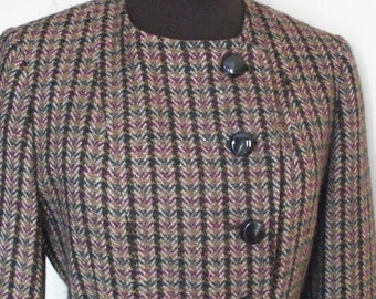 Retro 1940s Style Sanyo Ladies Double Breasted Wool Jacket Size 8
