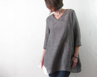 Linen Tunic - Grey with Deep Pockets and Cross-Over V-Neck