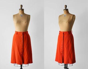 1970's orange skirt. m. 70's mid length skirt. a-line. button down. 70 medium skirt. autumn.