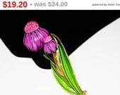 Purple & Pink Flower Brooch with Green Leaves - Enamel Flowers - Mid Century Mod Figural - 1960's Vintage Garden Pin -