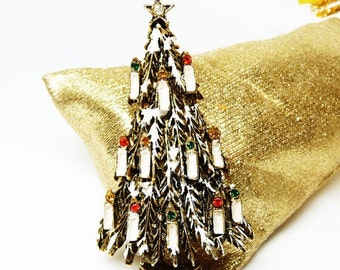 Christmas Tree Brooch Designer Signed ART - White Snow Capped With Candles and Rhinestones - 1960's Vintage Jewelry