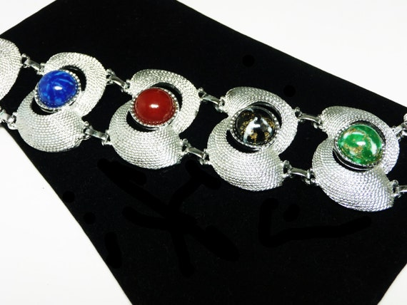 Sarah Coventry Vintage Bracelet with Art Glass Cabs in Silver Setting